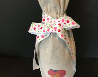 Wine Gift Bag, pink poodle
