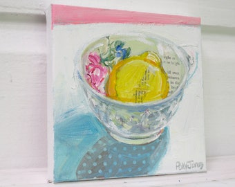 Lemon Bright original acrylic mixed media still life painting by Polly Jones