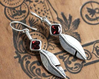 Sterling silver feather earrings, garnet dangle earrings, garnet drop earrings, valentine earrings, silver feather jewelry, ready to ship
