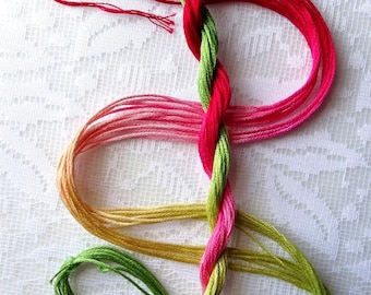"""Embroidery floss """"Rhubarb Pie"""" hand dyed cotton"""