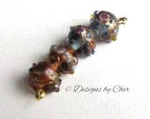 Two Pair (4) Wedding Cake Lampwork Glass Beads - 14/15mm - Blue and Purple - Destash Beads