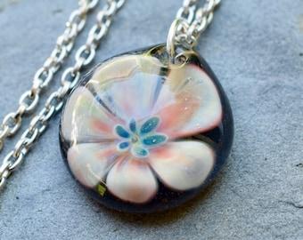 Glass Flower Pendant Necklace Boro Lampwork Jewelry - Healer