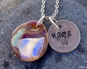 Dichroic Glass Pendant Boro Lampwork Stamped Coin Necklace - Hope