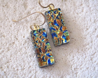 Petite Blue Gold, Dichroic Earrings, Fused Glass Earrings, Dangle Drop Earring, Fused Glass Jewelry, Gold Filled Wires, Ccvalenzo, 61117e100