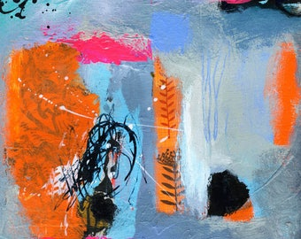 "Modern Art Abstract Painting on Paper - Small Original Painting Featuring Blue and Orange Textured Design - 8"" x 8"""