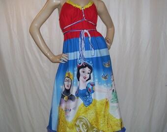 Snow White Sundress 7 Seven Dwarves Dwarf Mom Dress Maternity Disney Party Cruise Resort Dress Evil Queen Blue Red Yellow Adult M L XL