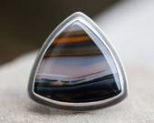 The Land – agate, sterling silver and gold ring