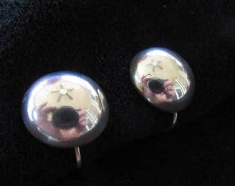 Vintage Sterling Silver Earrings Screw Back Dome Shaped