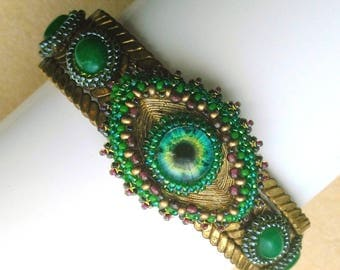 Bead Woven EYE Copper Bracelet, Emerald Green Beaded Cuff, Inspirational Embroidery, Knowledge Cuff - Eye See You by enchantedbeads on Etsy