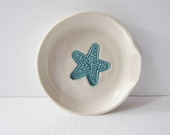 Coastal Spoon Rest with Star Fish, Ladle Rest,  Glazed in Sea Isle Turquoise and creamy white