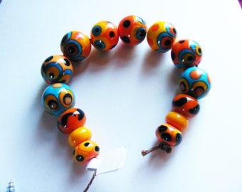 Handmade Lampwork Glass Funky Bead Set