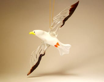 Handmade Blown Glass Figurine Art Hanging SEAGULL Albatross Ornament