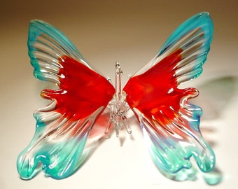 Blown Glass Figurine Art Insect Blue and Red Hanging BUTTERFLY Ornament with a Hanging Hook