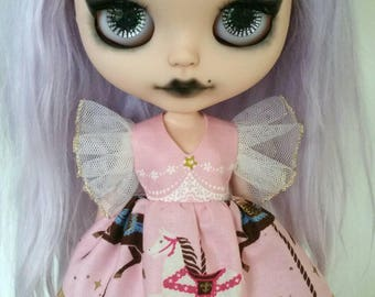 Pink Carousel flutter sleeve dress for Blythe and Pullip
