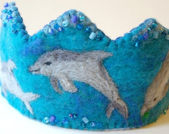 Birthday Crown, Happy Dolphins:  Waldorf Inspired Felted Wool Birthday Crown (Custom Made Crown with Ocean Theme) Under the Sea Party