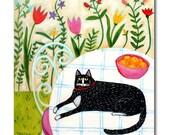 Garden Tuxedo Cat Original Painting 16x16 acrylic painting on canvas Cat folk art painting by artist Tascha