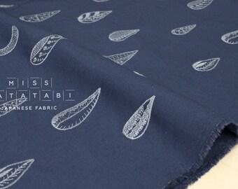 Japanese Fabric Kokka embroidered canvas - crescent moon - dark blue, grey - 50cm