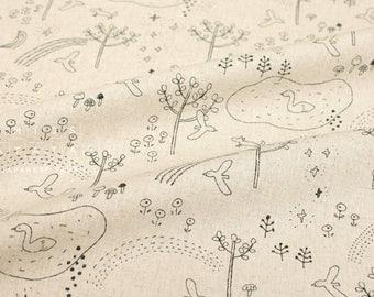 Japanese Fabric Megumi Sakakibara canvas - Niji no Mori - C - 50cm