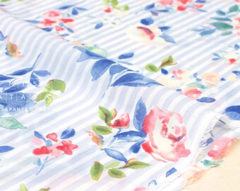 Japanese Fabric French Rose chiffon voile - light blue, pink - 50cm