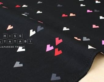 Japanese Fabric Geo Hearts - black - 50cm