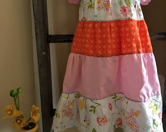 Peasant Style Pink  Tiered  girls dress.