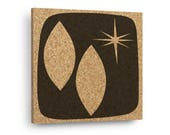 MID CENTURY MODERN Abstract Starburst Mix & Match Cork Decor Art Tiles Or Kitchen Trivet - Wall DéCork