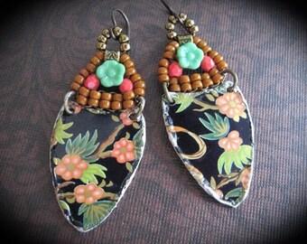 Bohemian Awesome Blossom Earrings. Tin Dangle Earrings.WovenWire Earrings. Tin Jewelry Repurposed