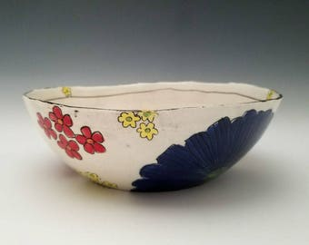 Ceramic Serving Bowl,  Fruit Bowl, Salad Bowl, Pasta Bowl, Colorful Floral Bowl