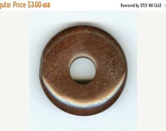 CLEARANCE 35mm Dark Brown Jasper Gemstone PI Donut Pendant Focal Bead Doughnut 789
