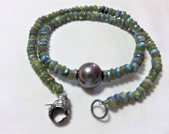 Oxidized Sterling Silver Diamonds Lobster Clasp and Spacers, Freshwater Kasnmi Gray Peacock Pearl and Mystic AB Vesuvianite Beads Necklace
