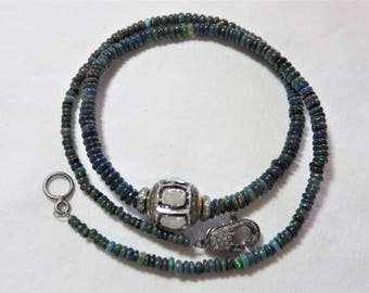 Diamond Bead/Spacer/Clasp, Natural Black Smooth Rondelle Opal Beads and Oxidized Sterling Silver Wire Necklace