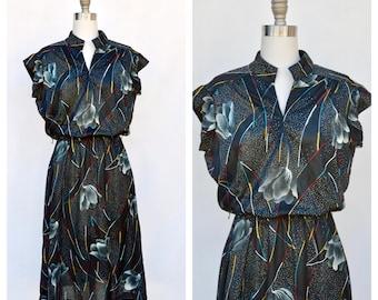 1980s abstract boho dress / medium