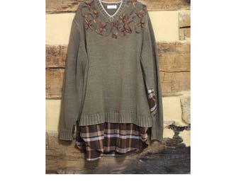 Womens Plus Size Lagenlook Sweater Flannel Tunic Top Pullover w/ Plaid Upcycled Sweater Hippie Clothes Boho Clothing Rustic Fashion