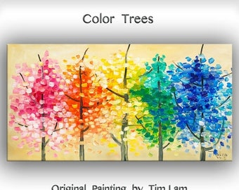 """Sale Art Painting Original impasto modern tree art 48"""" MULTI colors landscape painting acrylic painting on gallery canvas by tim lam"""