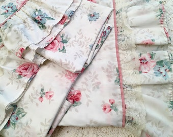 Reserved - Vintage Queen Roses Sheet & Pillowcases - Pink Blue with Lace Ruffle Edge - Flat Sheet Two Pillowcases