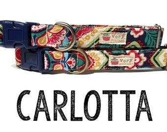 "Modern & Vintage Bohemian Floral Mexican Middle Eastern Playful Fun Dog Collar - Antique Metal Hardware - ""Carlotta"""