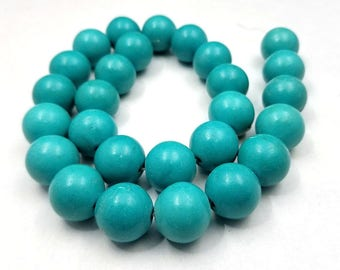 Set of 6 Turquoise Howlite Beads 16MM round (H7098)