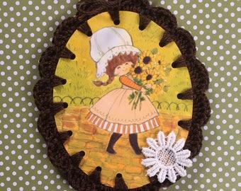 Crochet Card / Ornament / Tag - Sunflower Girl - Vintage Illustration