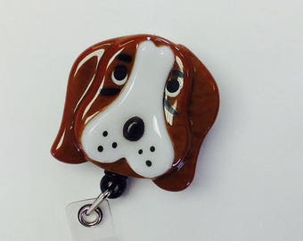 Basset Hound Retractable Badge Holder Fused Glass.