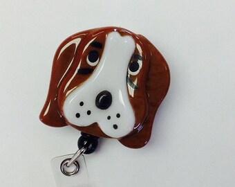 Basset Hound Retractable Badge Holder Fused Glass.