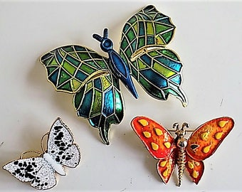 FREE SHIPPING Vintage Lot Metal Butterfly Brooches