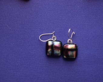 Dichroic Glass Dangle  Earrings In Muted Shades Of Blue and Pink On Sterling Silver Wires