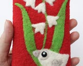 RESERVED Phone cozy pouch red wool white needle felted  birdie bird lily of the valley