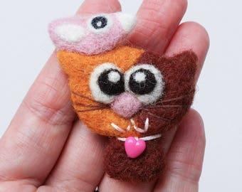 Brooch pin wool felt needle felted brown pink kitty cat birdie bird