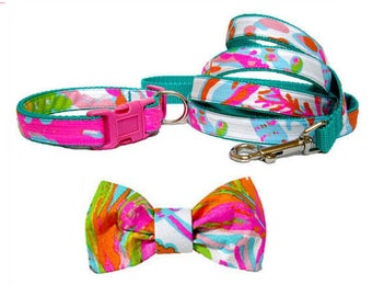 SCUBA to CUBA Dog Collar and/or Leash on Teal with Bow or Flower Option Made from Lilly Pulitzer Fabric Size: Your Choice