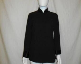 Closing shop SALE 40% off 90s Vintage Black Cheong Sam Top, Long Sleeve Asian Blouse