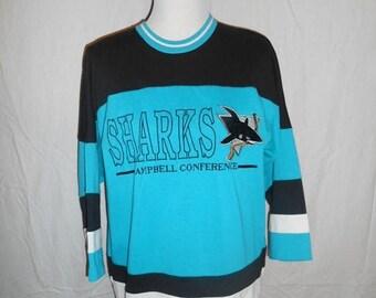 Closing shop SALE 40% off Vintage Jersey Shirt tee t shirt     San Jose Sharks          L large