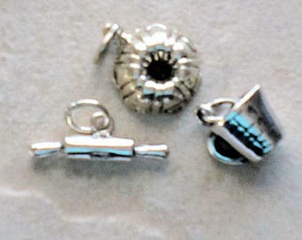 Sterling Silver Baking Cooking Charms (3) -- Bundt Pan, Measuring Cup, Rolling Pin
