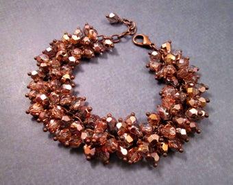 Cha Cha Fringe Bracelet, Copper Mirrored Glass Beaded, Wire Wrapped Charm Bracelet, FREE Shipping U.S.