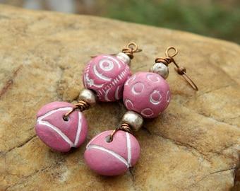 Pink Boho Clay Bead Dangling Earrings